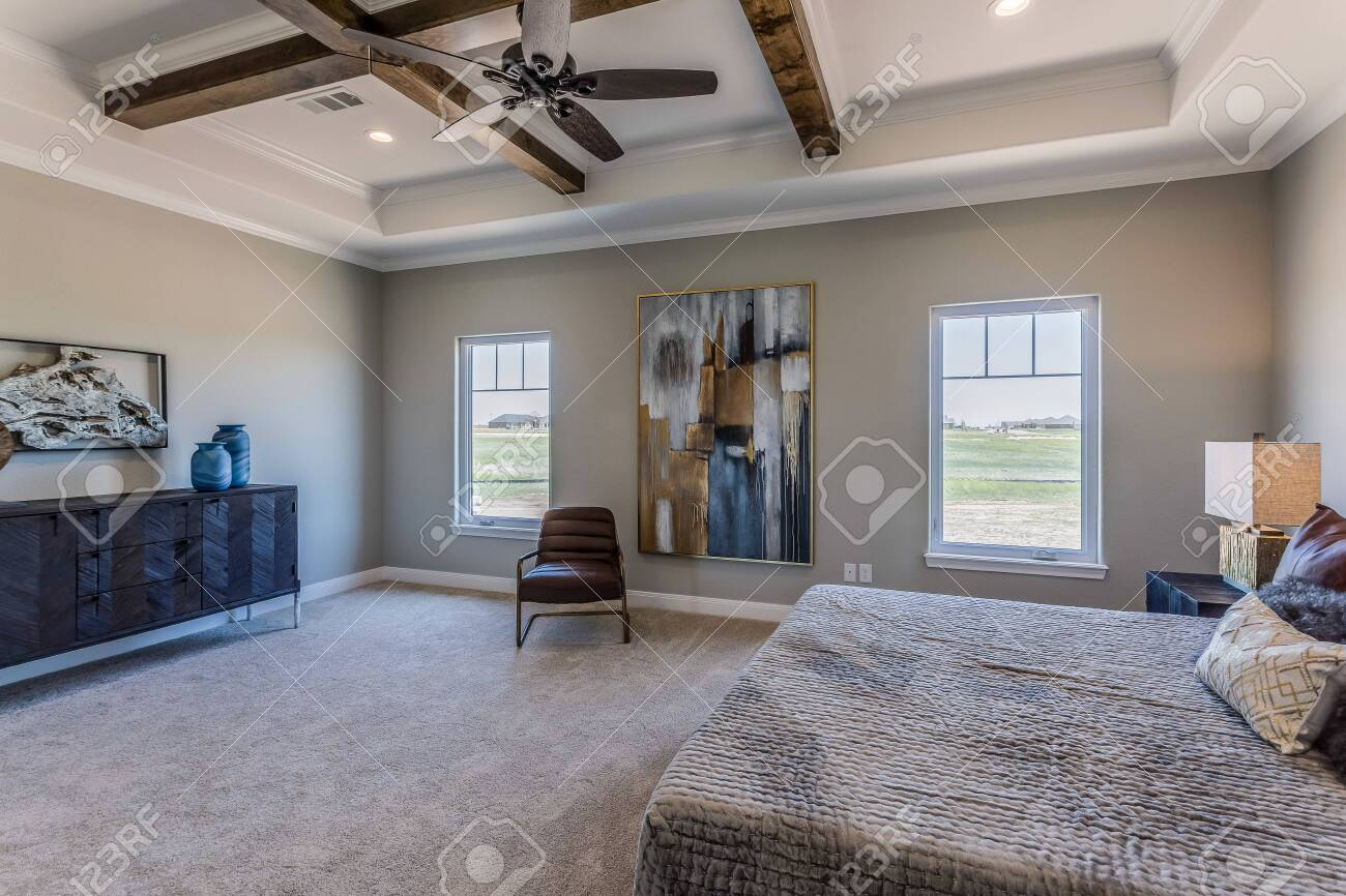 Large Master Bedroom With Coffered Ceiling Stock Photo Picture And Royalty Free Image Image 147042465