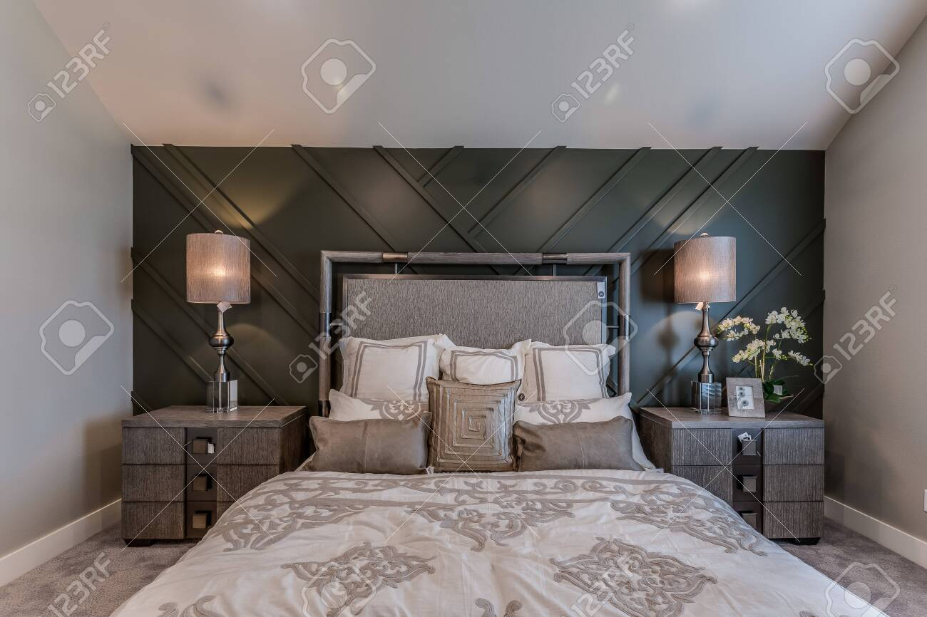 Master Bedroom With Cathedral Ceiling And Wainscoting Wall Stock Photo Picture And Royalty Free Image Image 147591173
