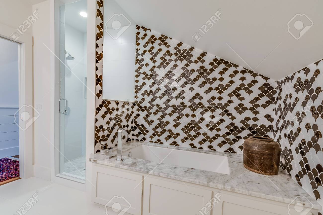 Nice Tub And Shower Layout Considering Vaulted Ceiling With Stock Photo Picture And Royalty Free Image Image 151238832