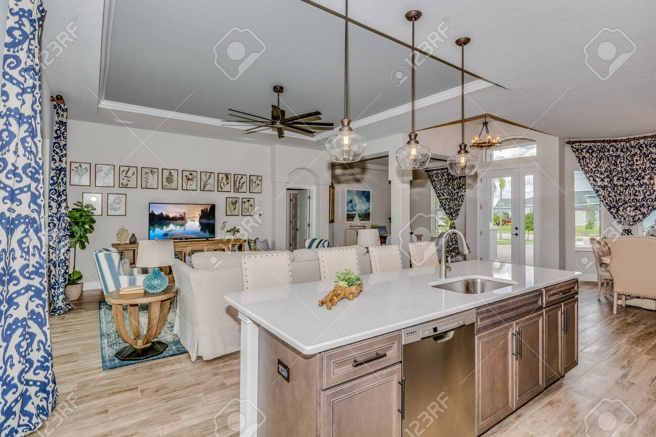 Open Floor Plan Showing Family Room, Dining Area And Kitchen ...
