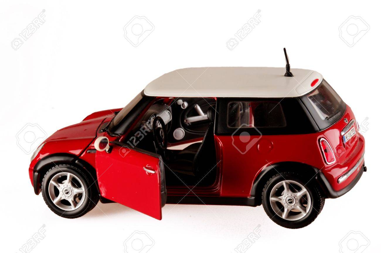 Mini Cooper Models >> Red Toy Model Mini Cooper Isolated Copy Space Open Door Stock Photo