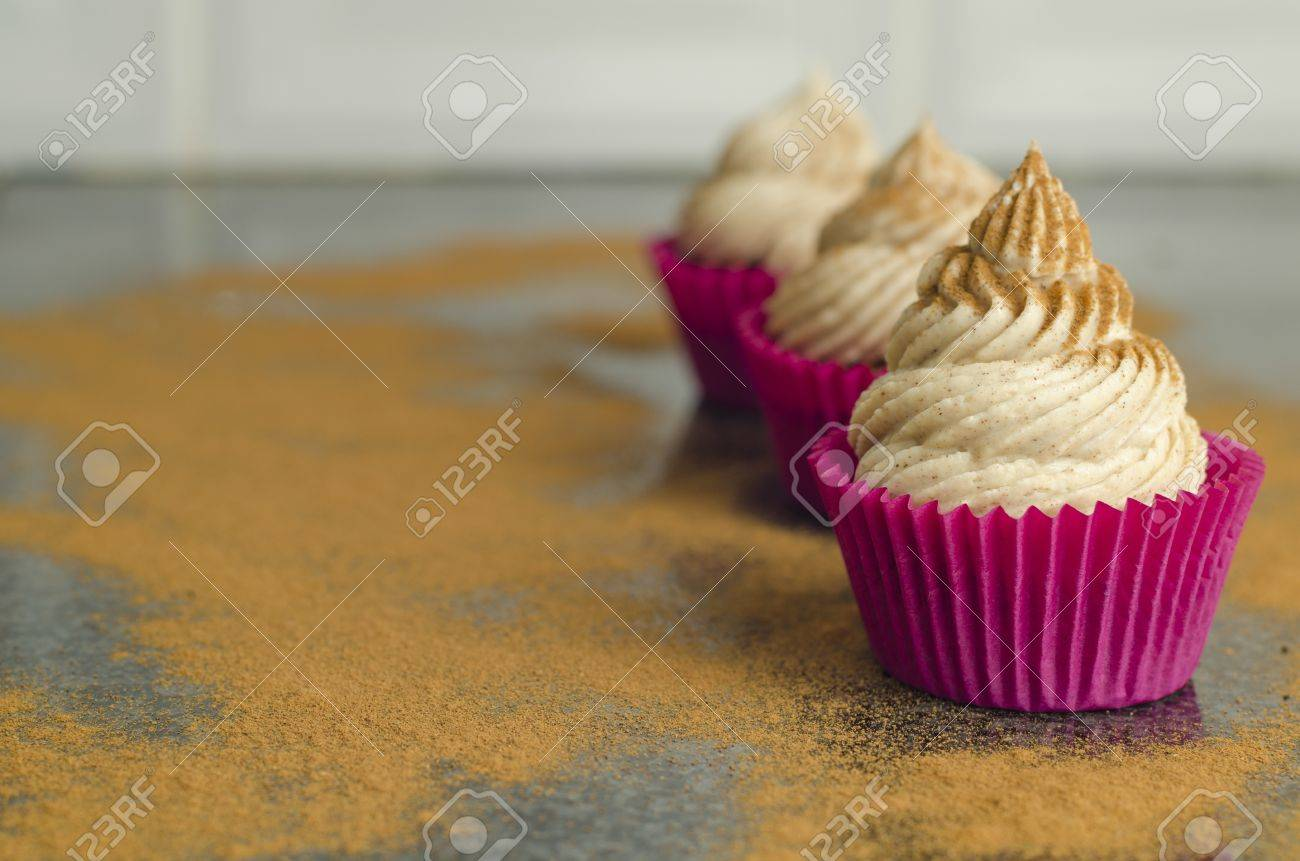 Red velvet cupcakes with piped twirled cream cheese frosting dusted with a light sprinkling of cocoa powder Stock Photo - 20932360
