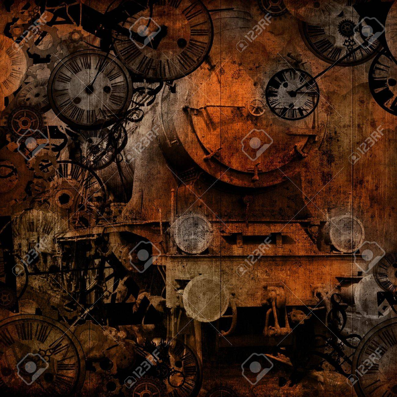 grunge vintage steam locomotive time machinebackground texture Stock Photo - 14530434