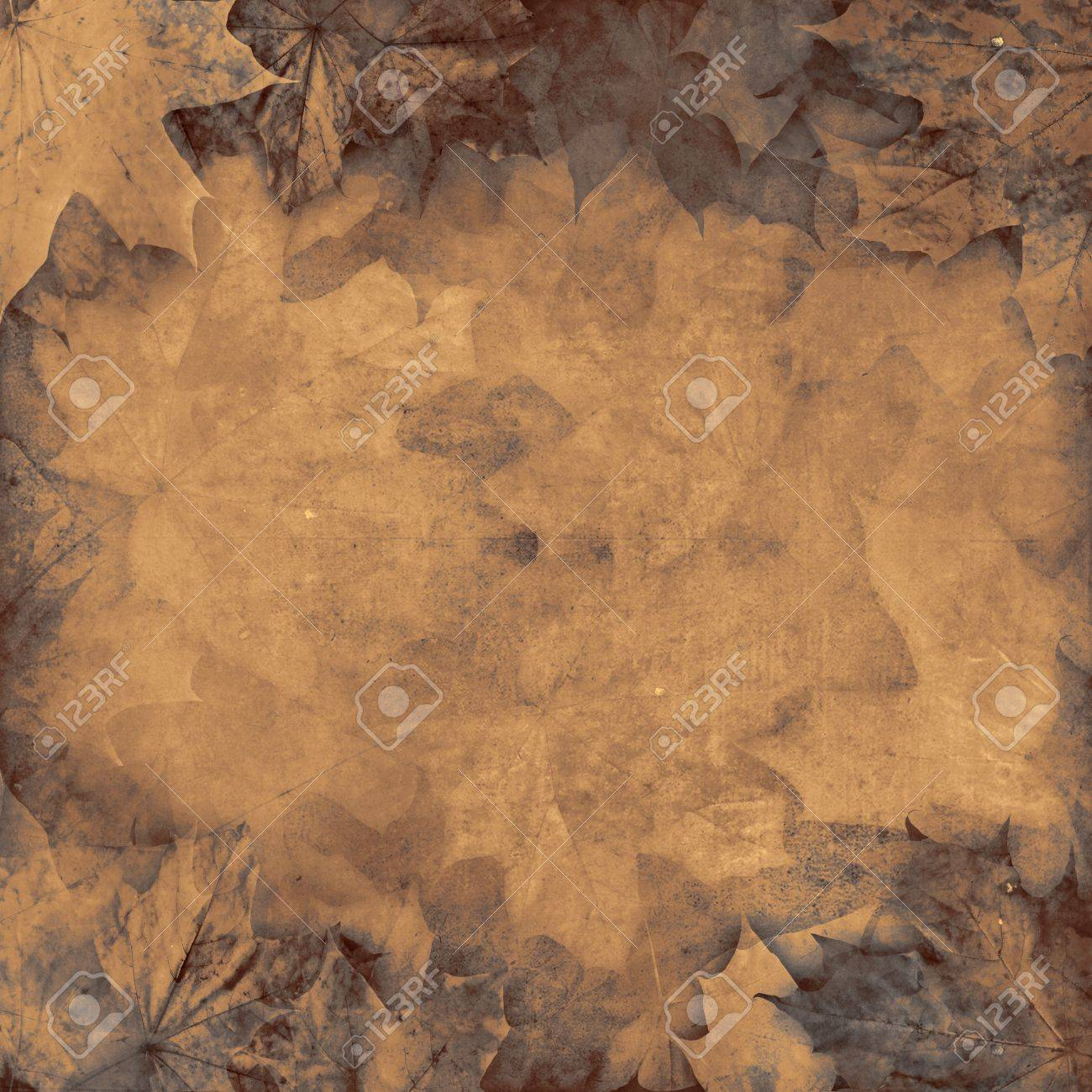 Old leaves sepia vintage autumn background illustration Stock Photo - 14619599