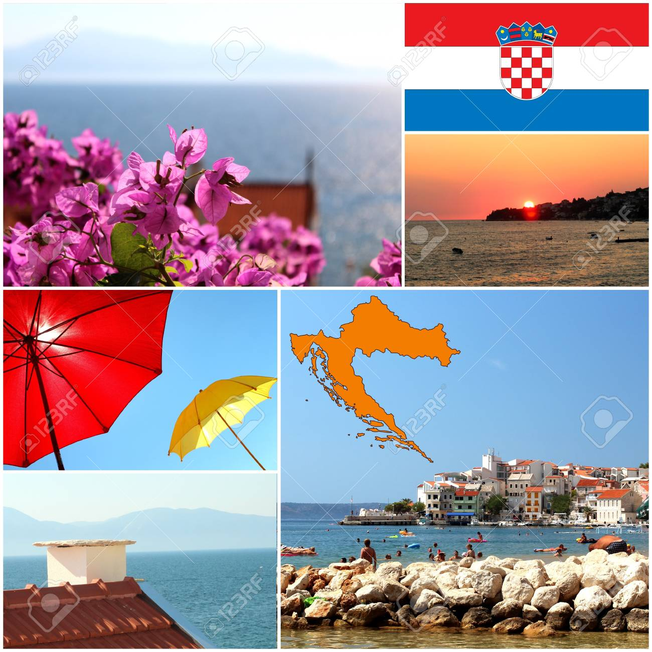 Set of summer colorful photos from Croatia Stock Photo - 19184914