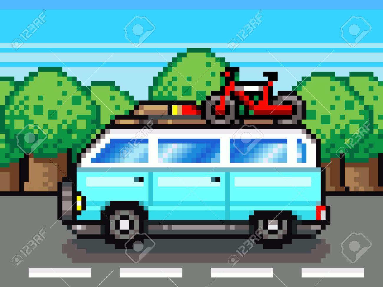 Family Road Trip Summer Vacation Holidays Pixel Art Retro Clipart Stock Photo