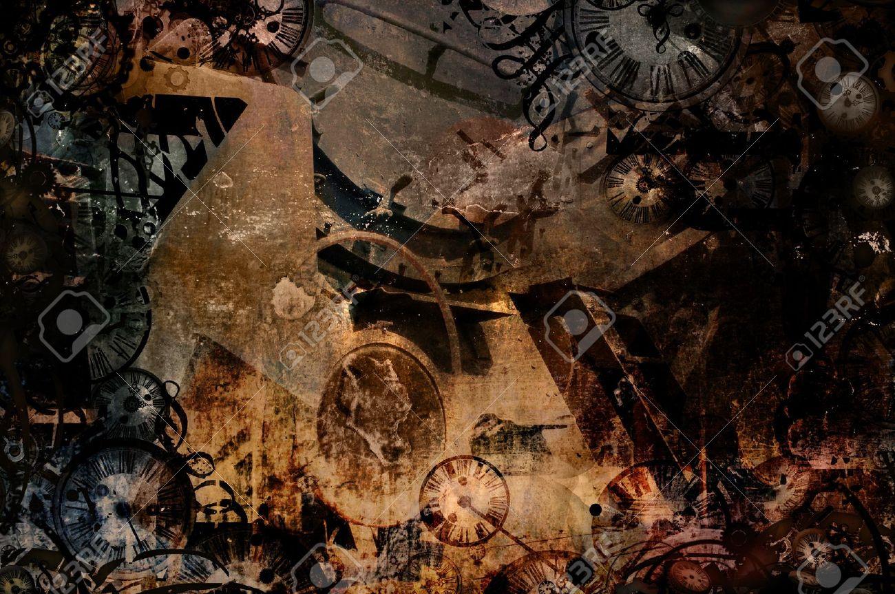 タイムマシン ビンテージ スチーム パンク背景イラスト の写真素材画像
