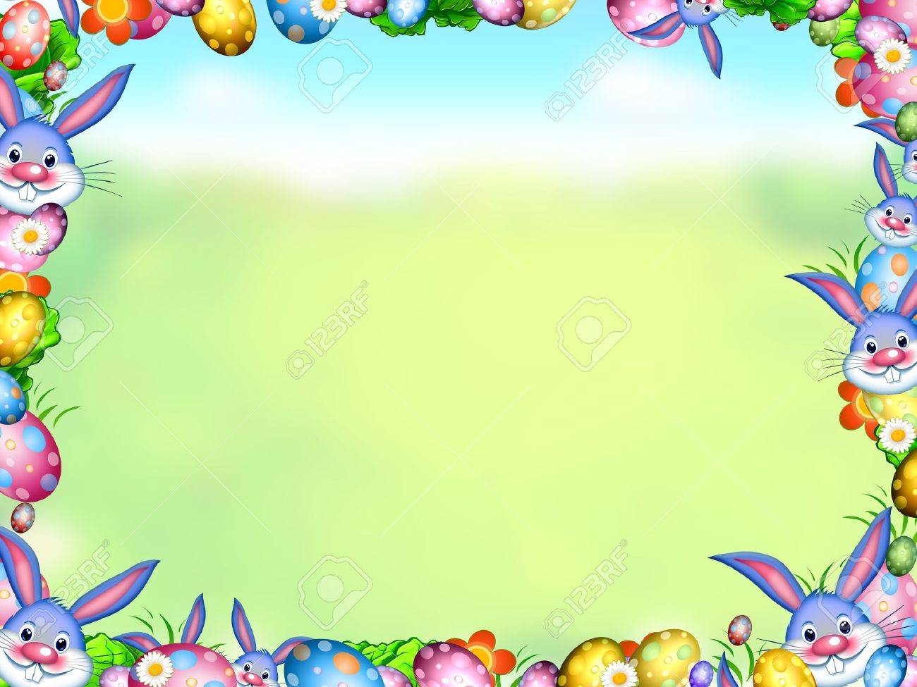 easter bunnies with eggs and flowers frame background stock photo