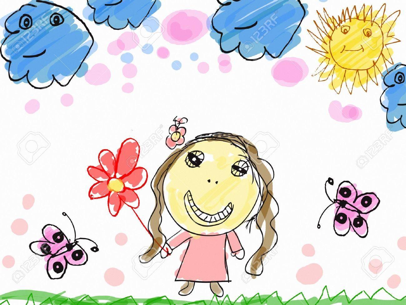 子の描画花イラスト幸せな女の子 の写真素材画像素材 Image 27906931