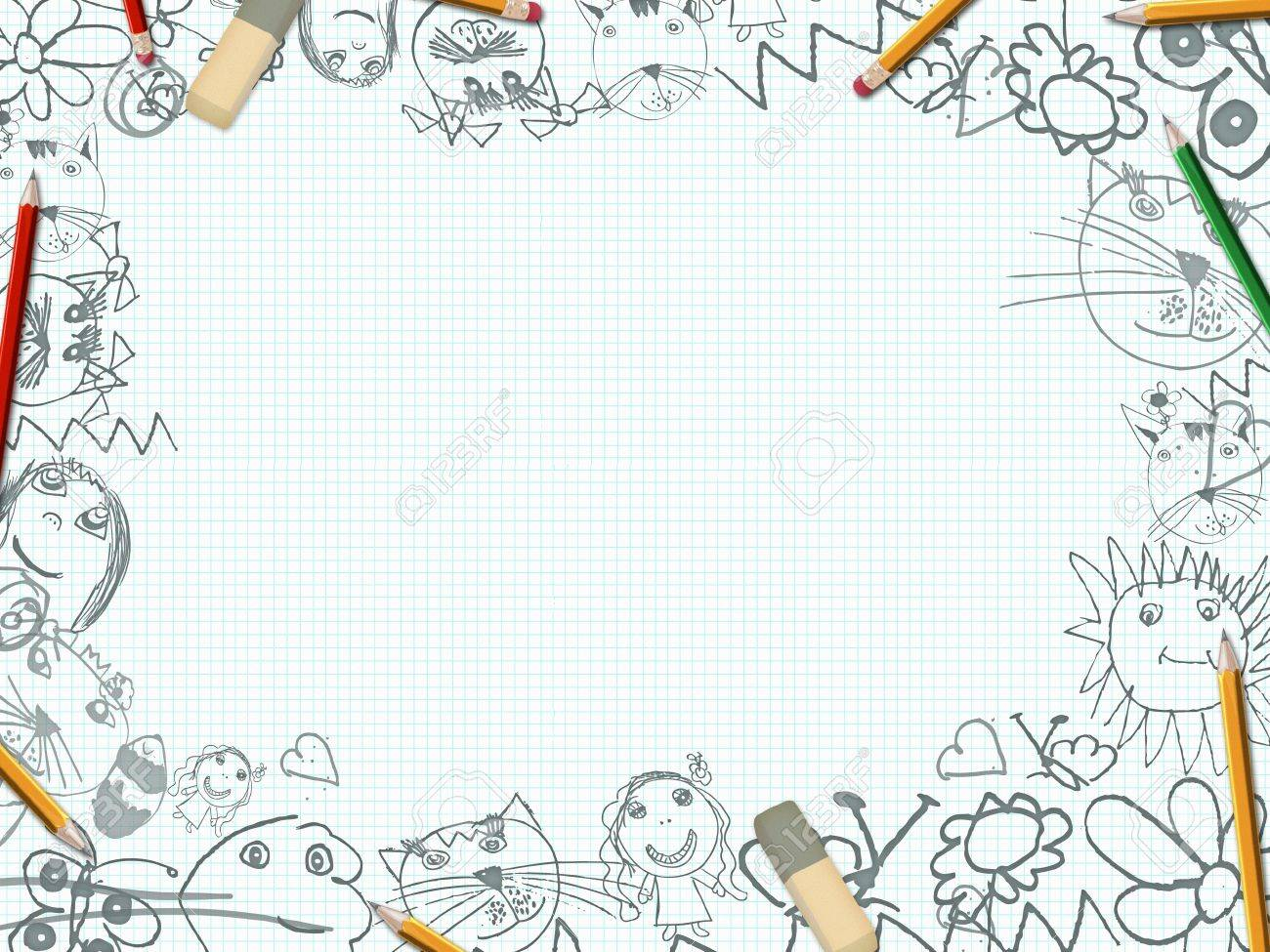 Childrens pencil drawings school desk background stock photo 27906935