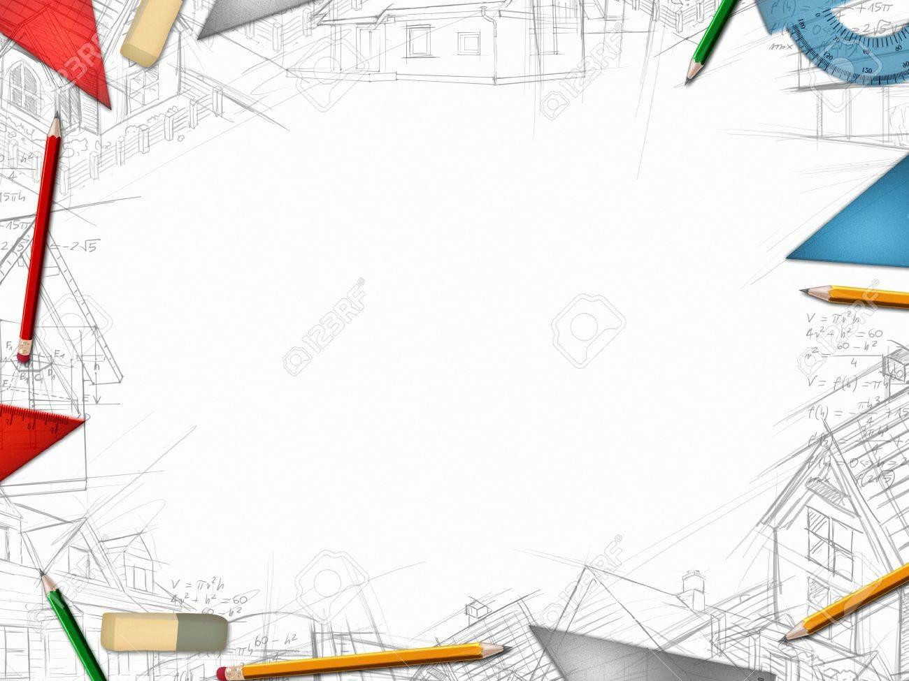 Architekt Designer-Desktop-Rahmen Auf Weißem Hintergrund ...