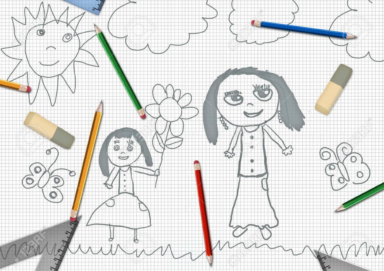 子供の鉛筆娘母の日学校机イラストの花を与える の写真素材画像素材