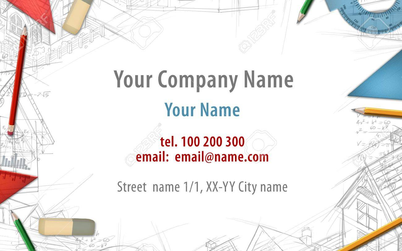 Architect Constructor Designer Builder Business Card Background ...
