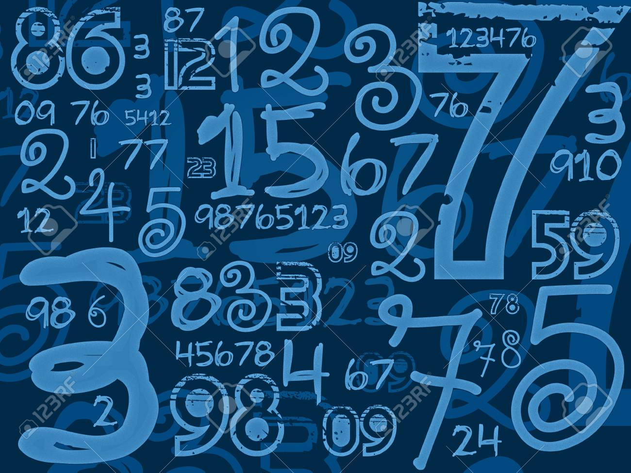 blue handmade numbers math background illustration stock photo