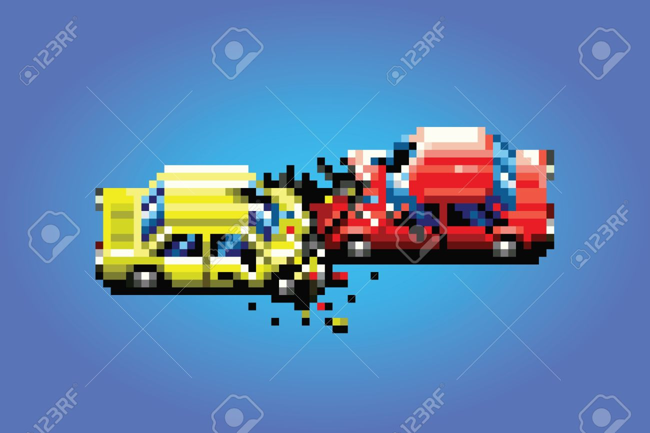 Car Crash Accident Pixel Art Game Style Retro Illustration Royalty ...