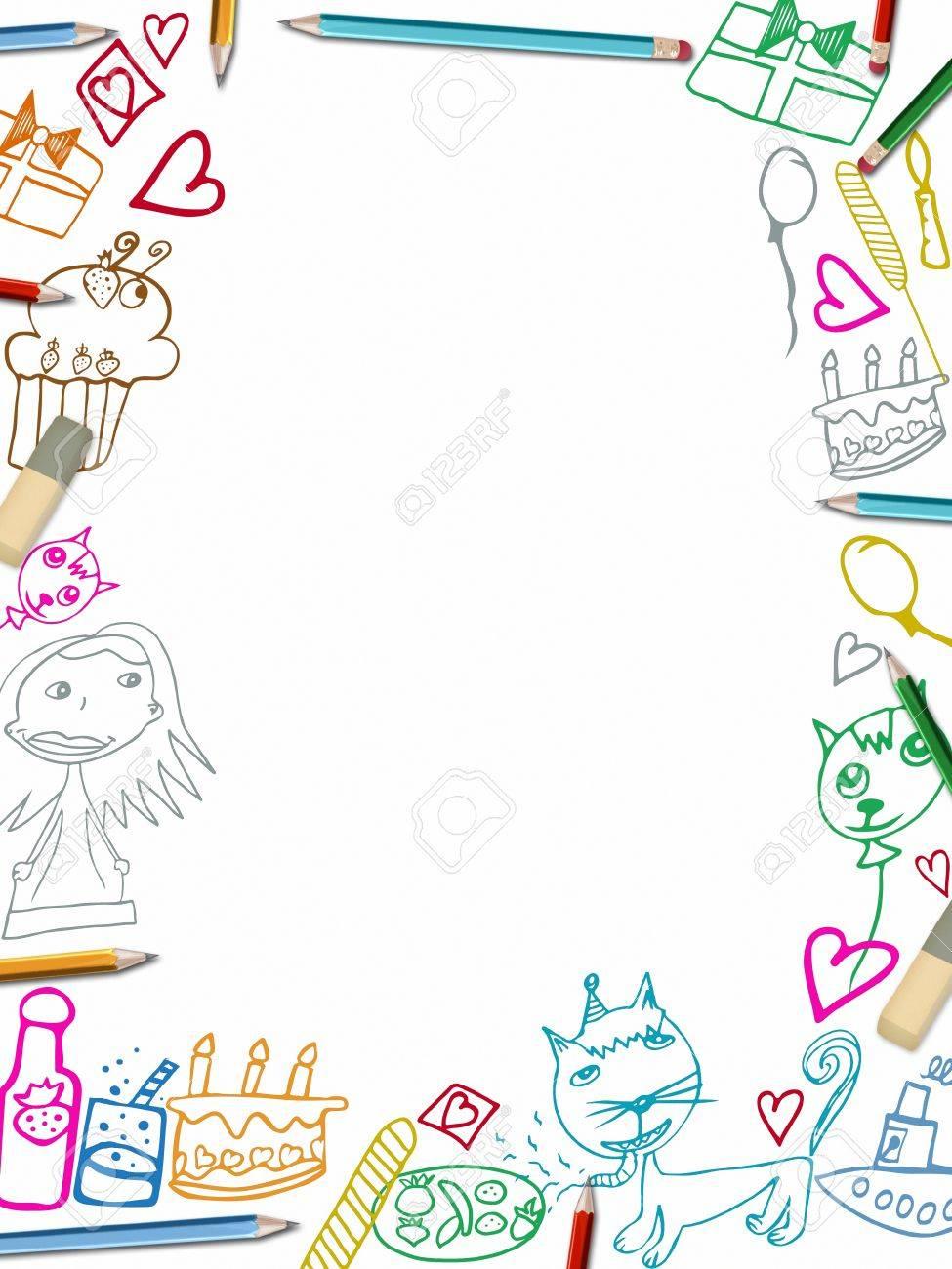 Alles Gute Zum Geburtstag Vertikalen Rahmen Kinder Zeichnungen
