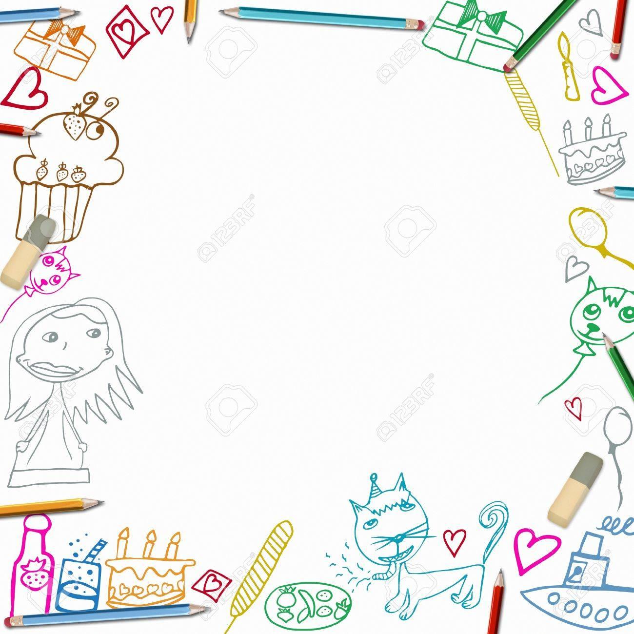 Gelukkige Verjaardag Kleurrijke Frame Kinderen Tekeningen