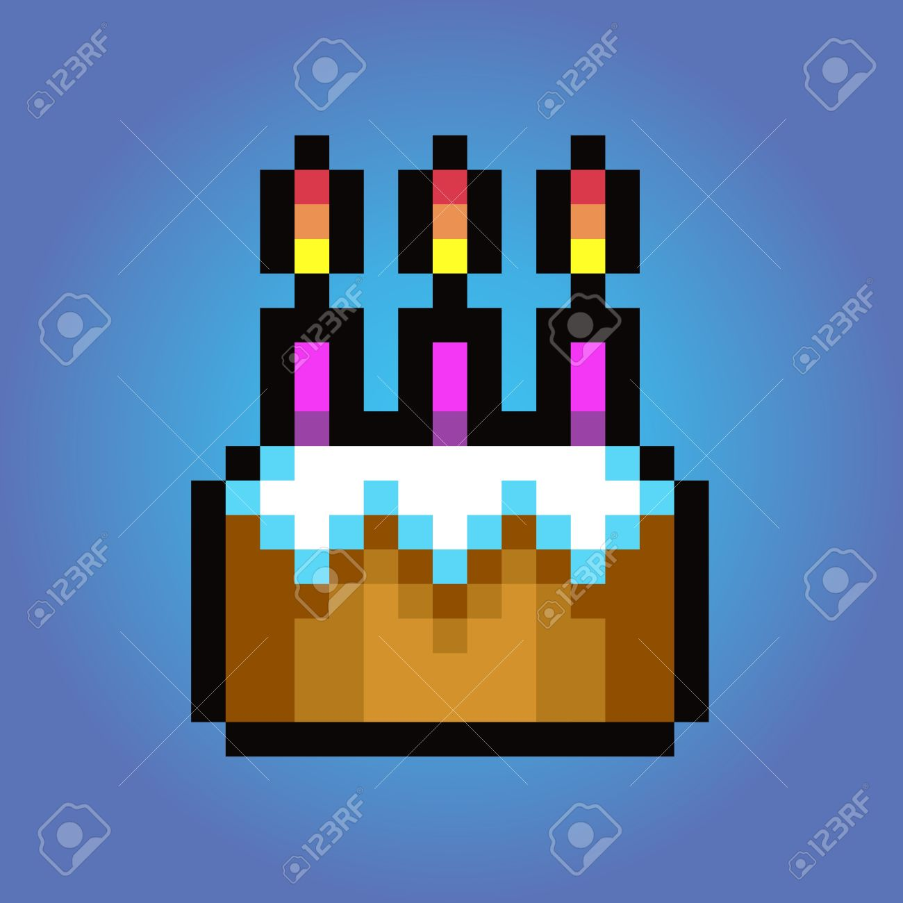 Birthday Cake Pixel Art Vector Icon Illustration