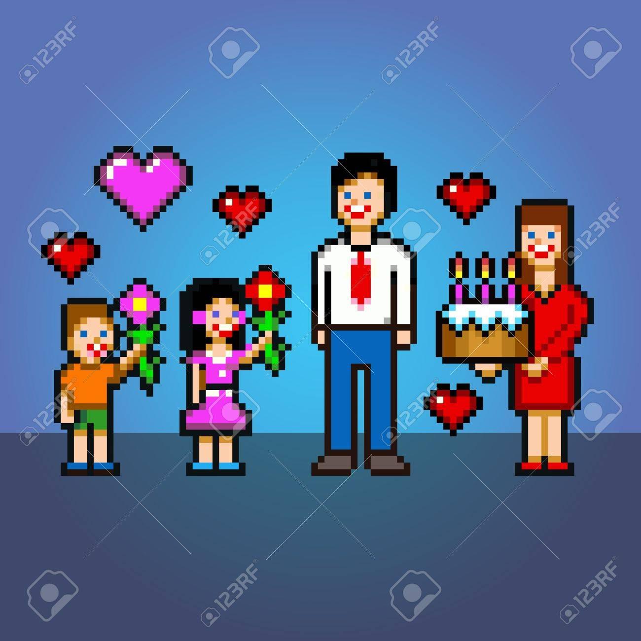 Célébration Daddy Gâteau Et Fleurs De Style Pixel Art Couches Vectorielles Illustration