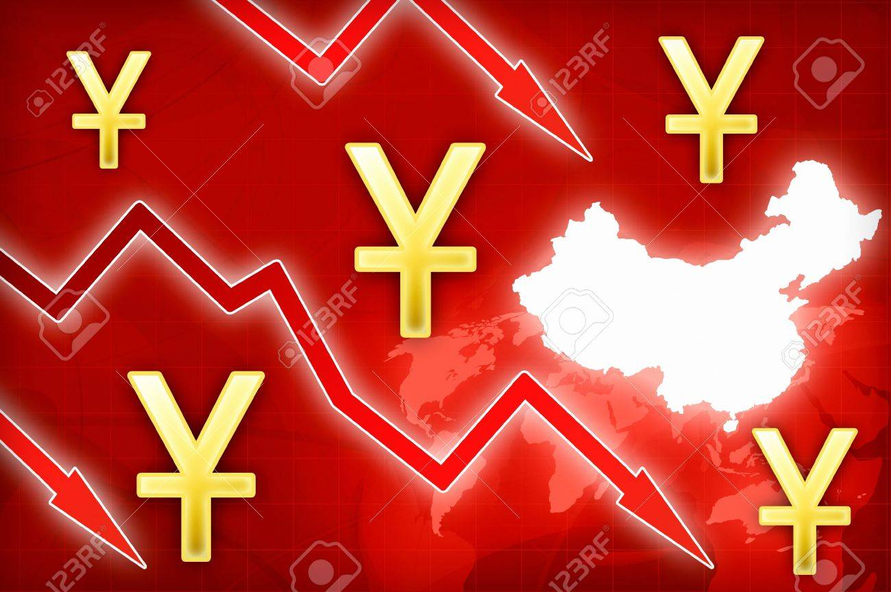 Chinese Yuan Crisis In China Concept News Background Illustration