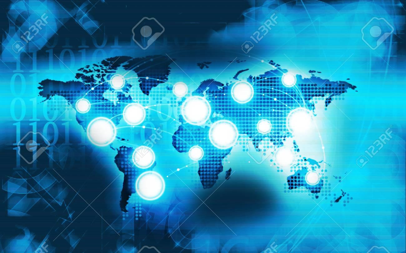 stock photo technology network business light blue background