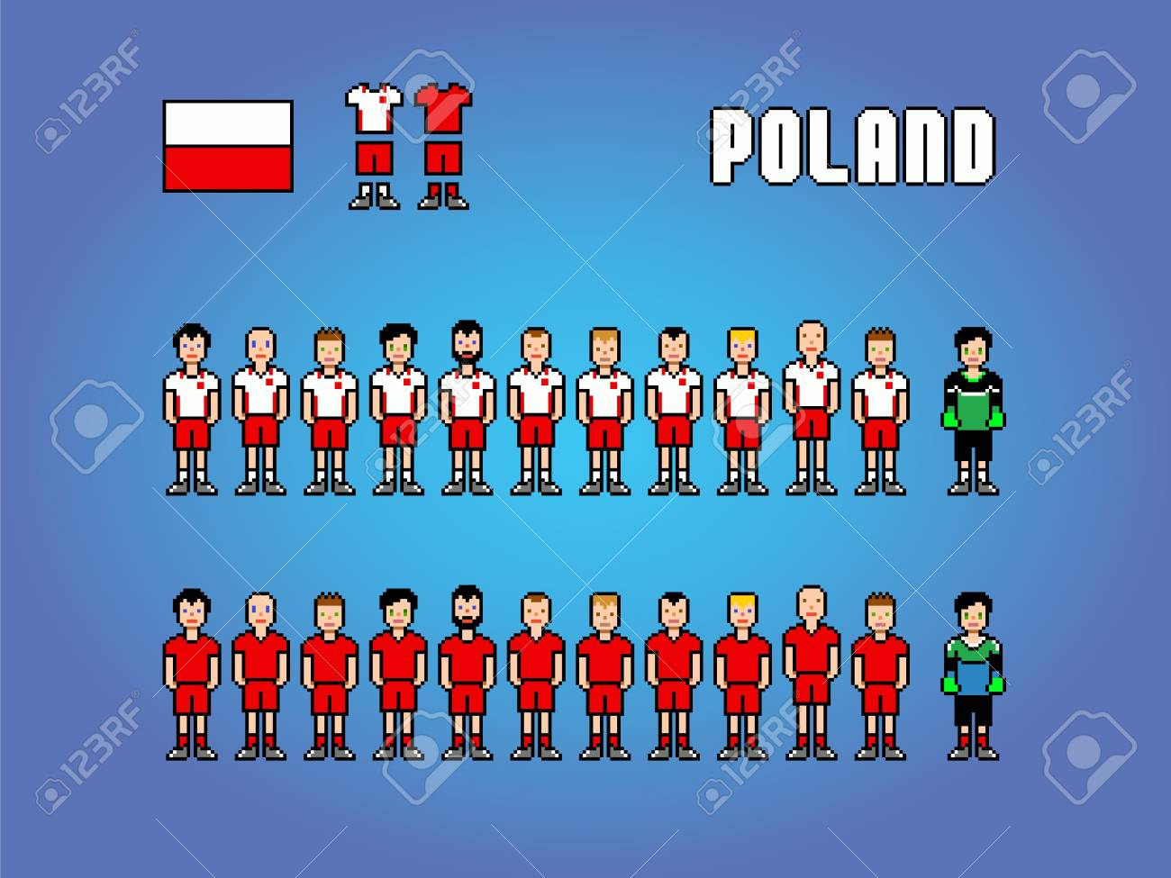 Poland Football Soccer Player Uniform Pixel Art Game Illustration