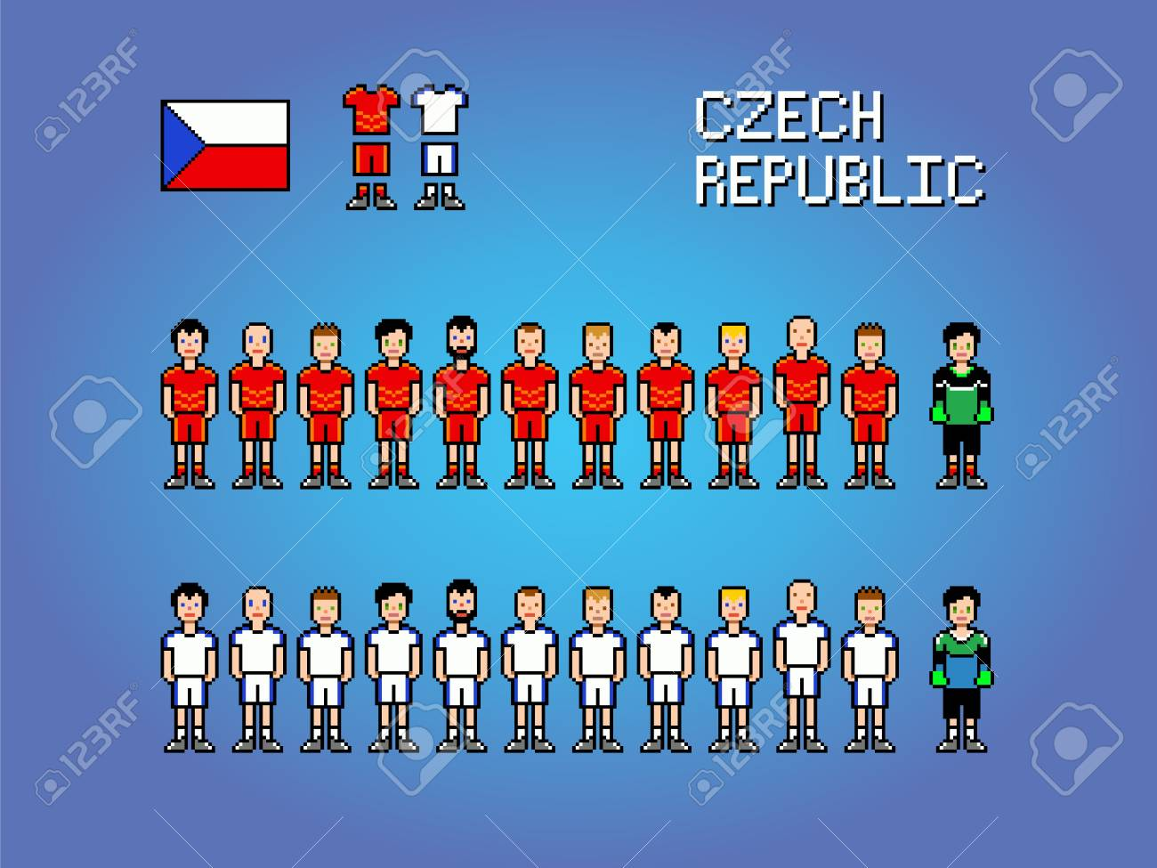 Czech Republic Football Soccer Player Uniform Pixel Art Game