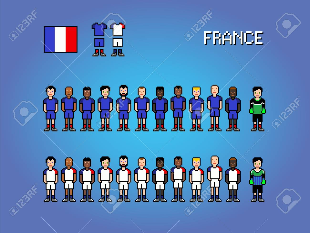 France National Football Team Pixel Art Video Game Illustration