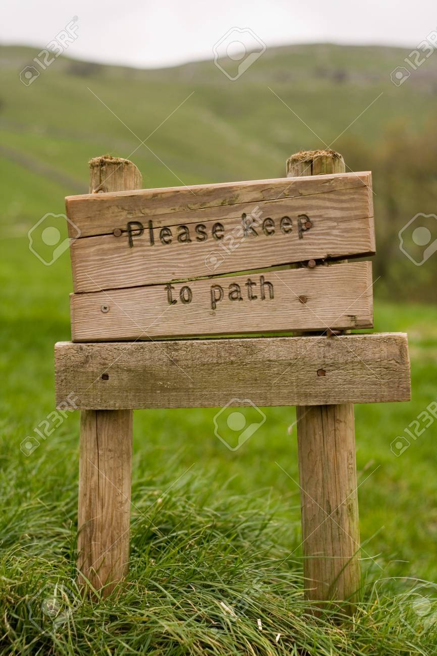 Signpost reading 'Please Keep to the Path' Stock Photo - 718684