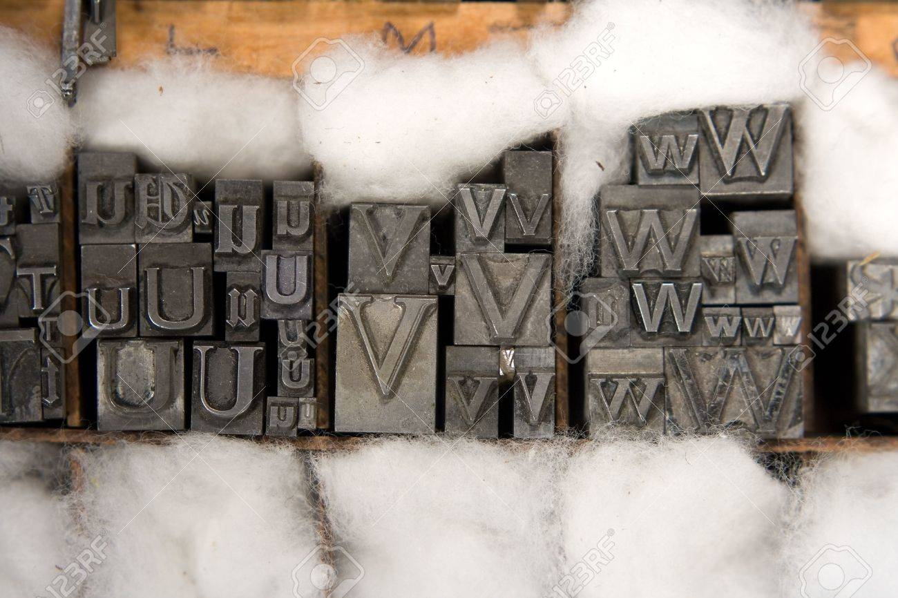Metal type blocks, used for letterpress printing. Mixed type in a wooden tray with cotton wool packing. Stock Photo - 791271