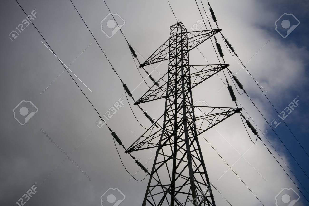 Electricity Pylon clouds and sky, power distribution. Stock Photo - 5885394