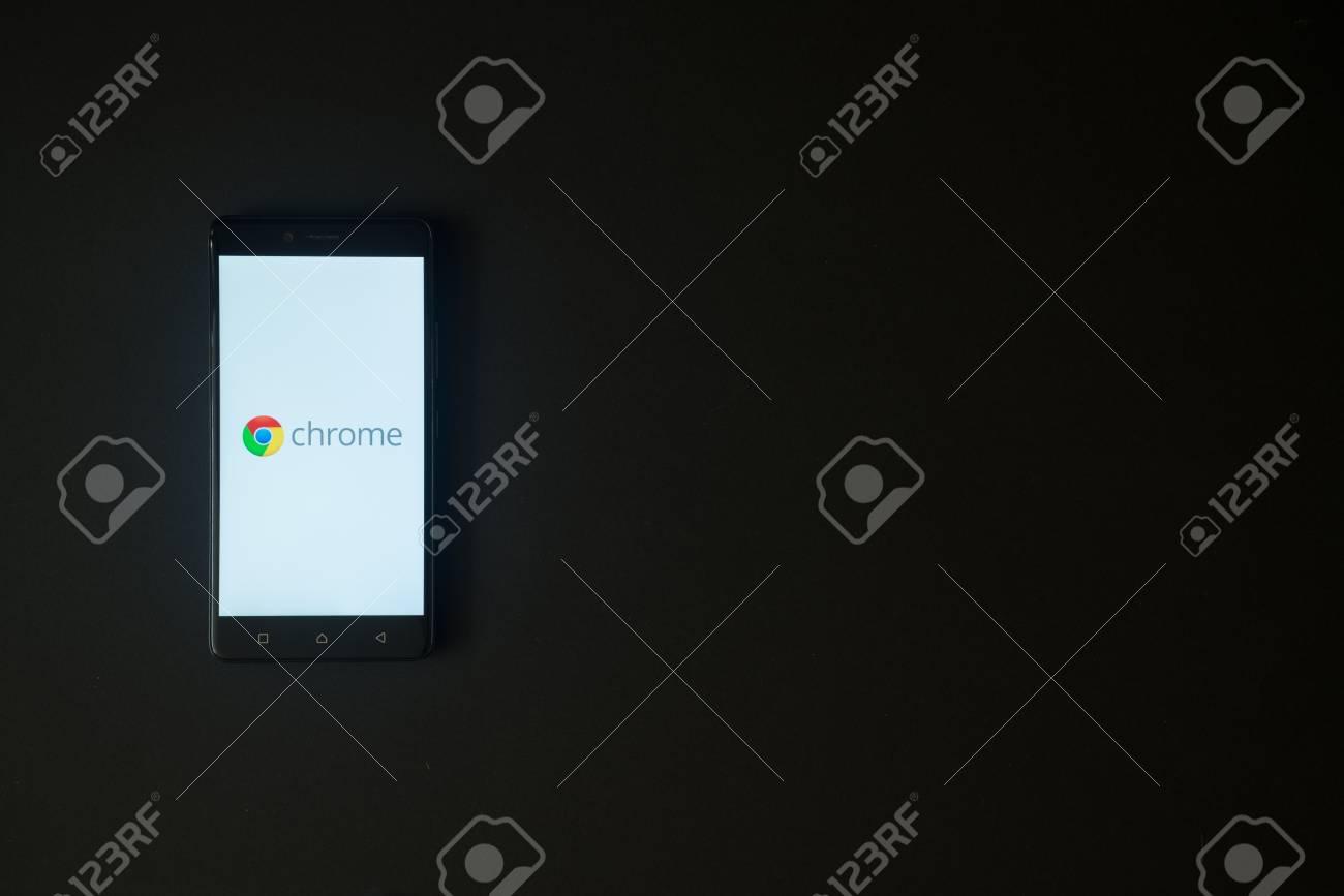 Los Angeles, USA, october 19, 2017: Google chrome logo on smartphone