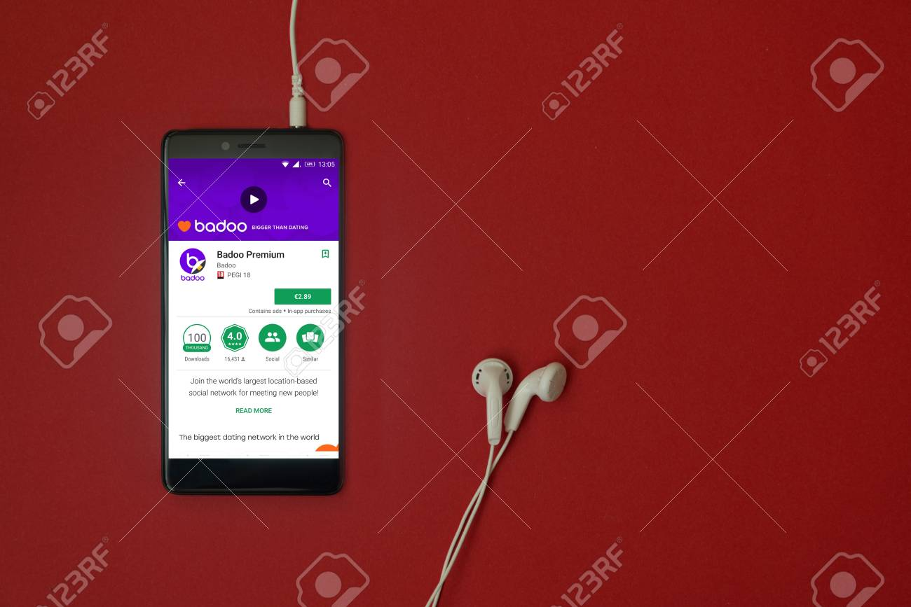 Los Angeles, January 11, 2018: Smartphone with Badoo premium