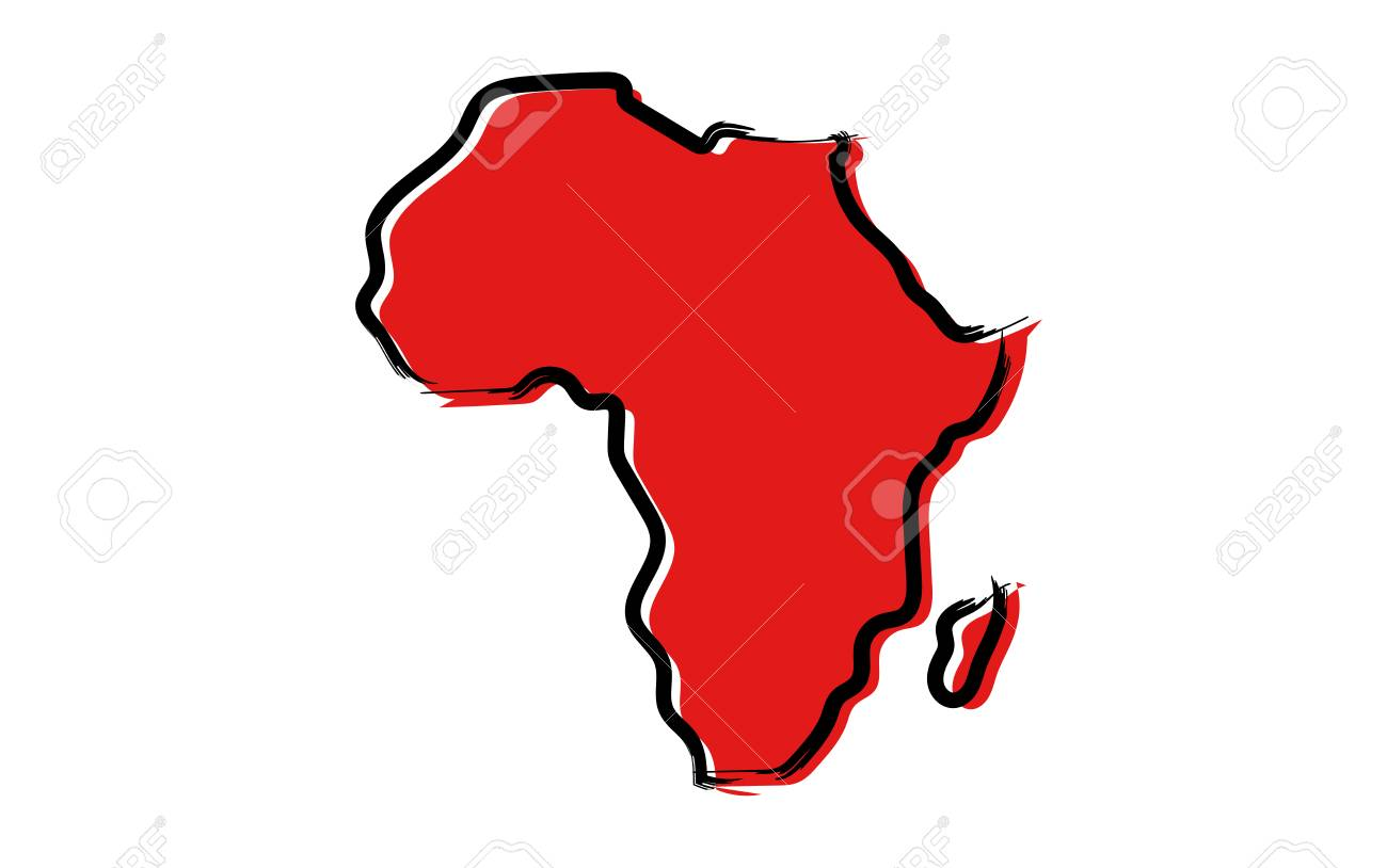 Plain Africa Map.Stylized Red Sketch Map Of Africa Isolated On Plain Background