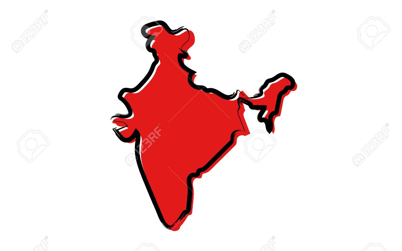 Plain Map Of India.Stylized Red Sketch Map Of India Isolated On Plain Background