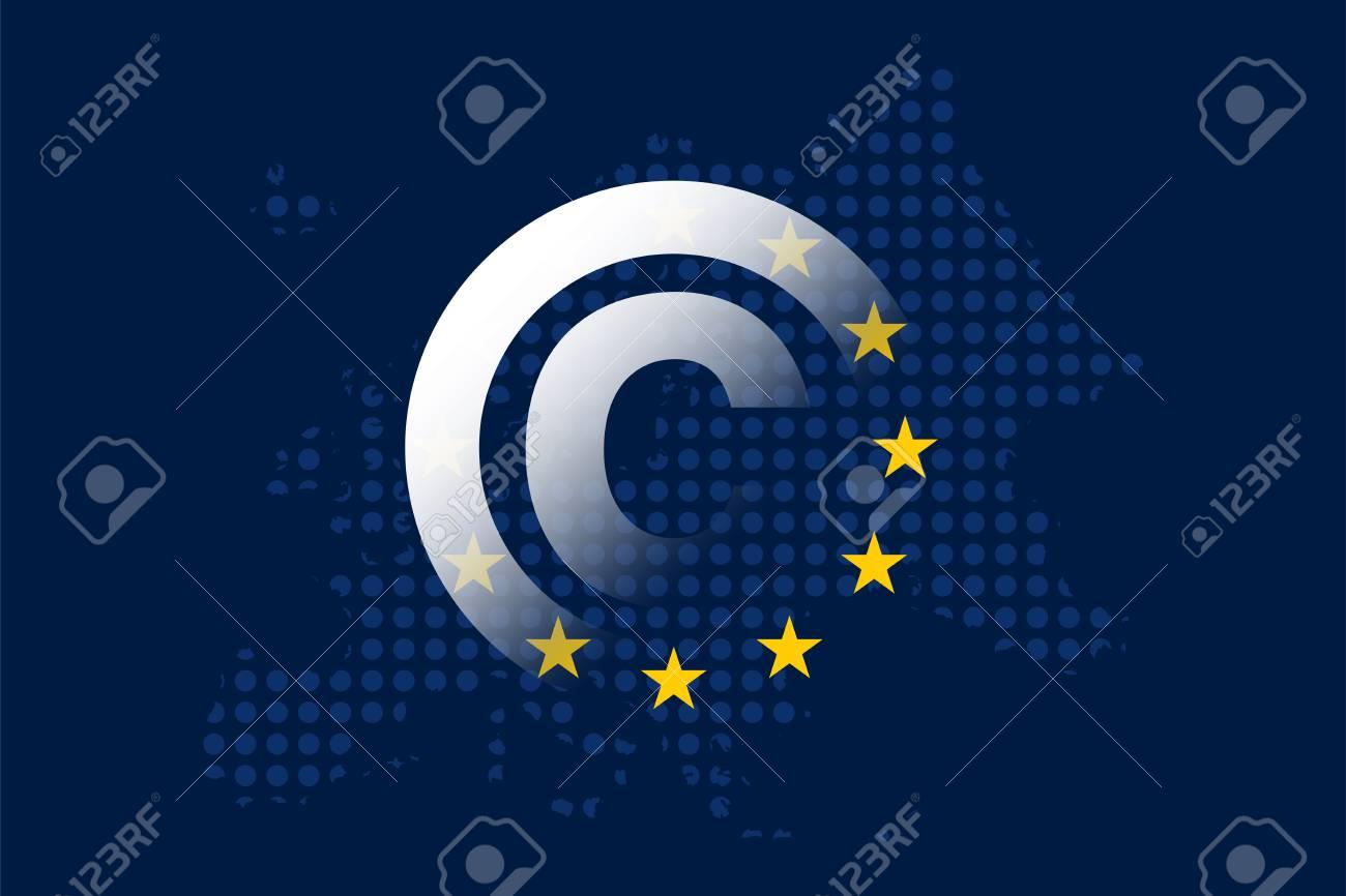Copyright in the Digital Single Market concept on European Union flag - 104666277