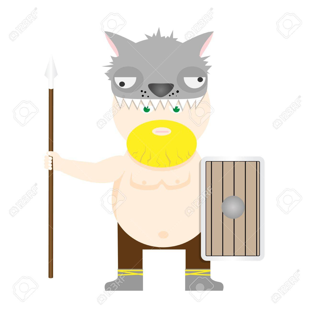 Illustration of viking with spear and shield Stock Vector - 17360812