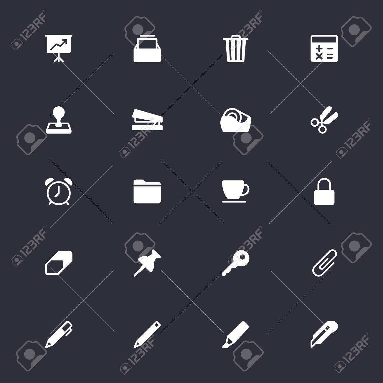 Bürobedarf Einfache Symbole Lizenzfrei Nutzbare Vektorgrafiken, Clip ...