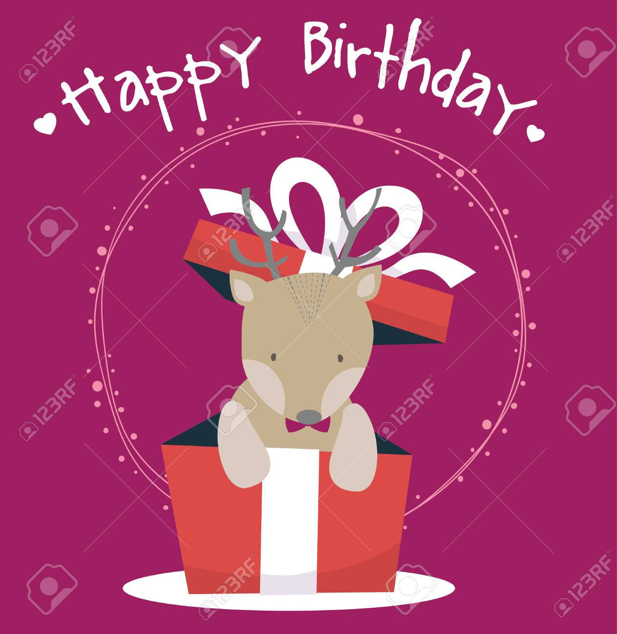 Cute deer happy birthday card royalty free cliparts vectors and cute deer happy birthday card stock vector 57932349 bookmarktalkfo Image collections
