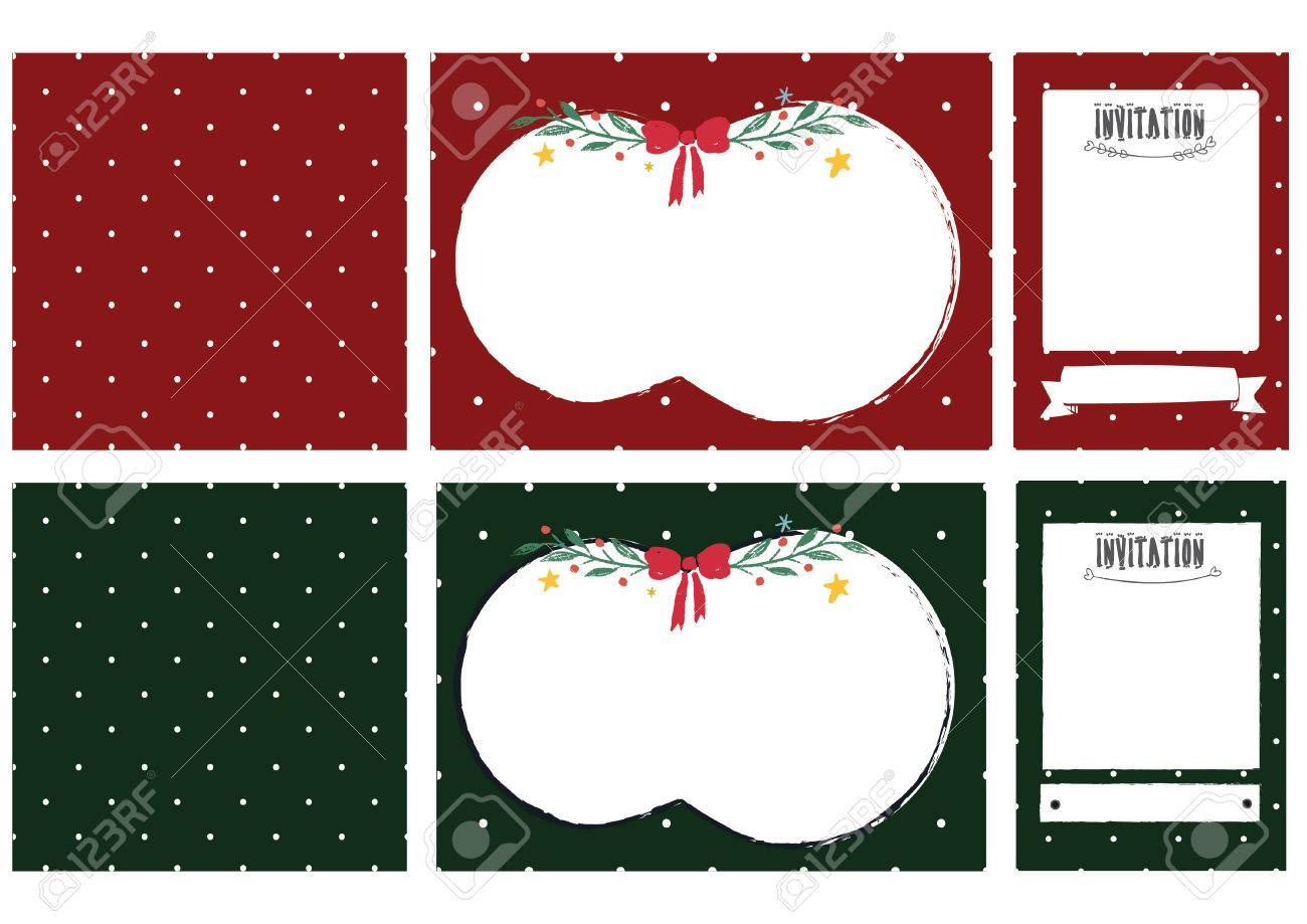 christmas cute polkadot invitation cards set royalty free cliparts
