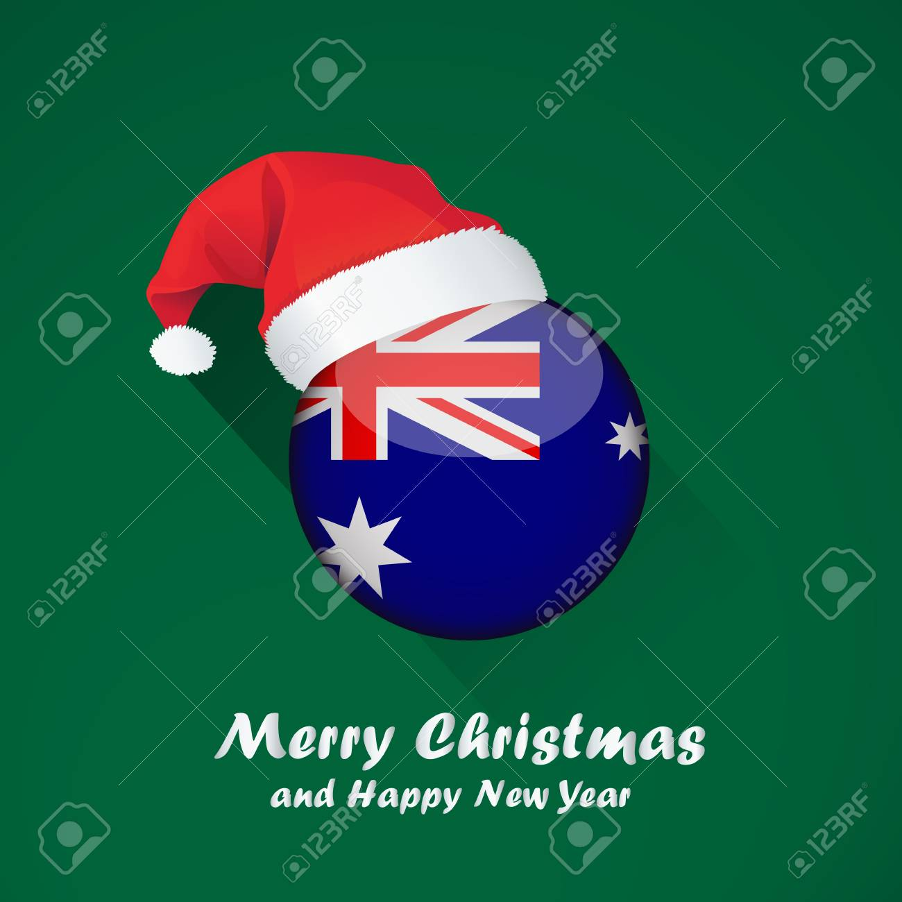 Christmas In Australia Background.Flag Of Australia Merry Christmas And Happy New Year Background