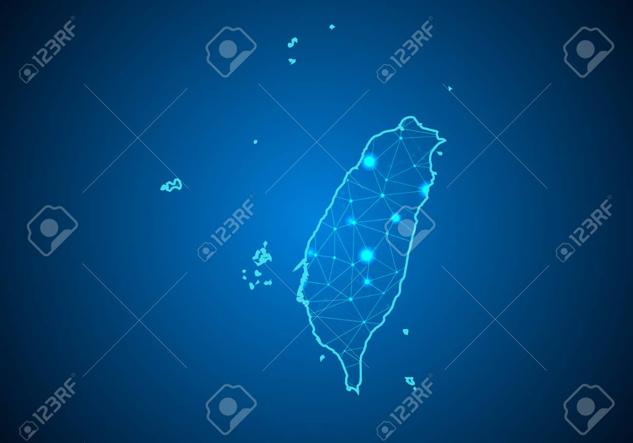 Abstract mash line and point scales on dark background with Map of taiwan. Wire frame 3D mesh polygonal network line, design sphere, dot and structure. communications map of taiwan. Vector. - 99688660