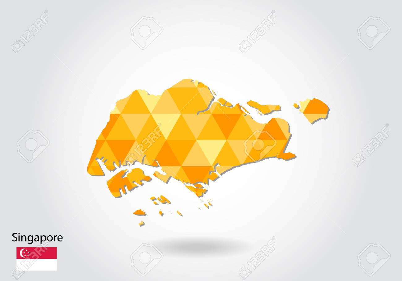 Geometric Polygonal Style Vector Map Of Singapore. Low Poly Map ...