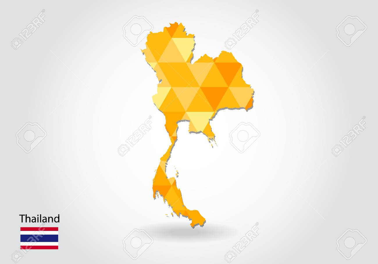 Geometric Polygonal Style Vector Map Of Thailand. Low Poly Map ...