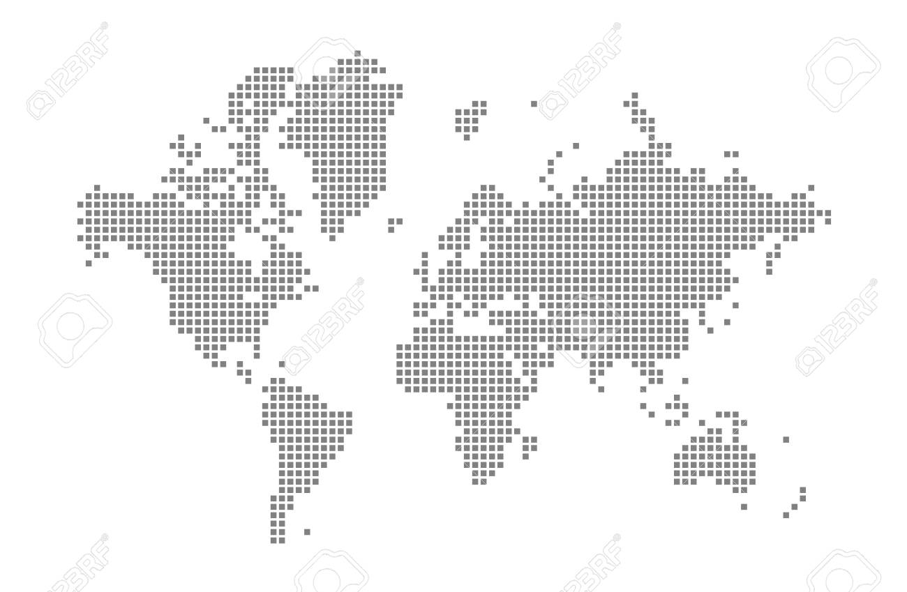 Pixel map of World. Vector dotted map of World isolated on white..