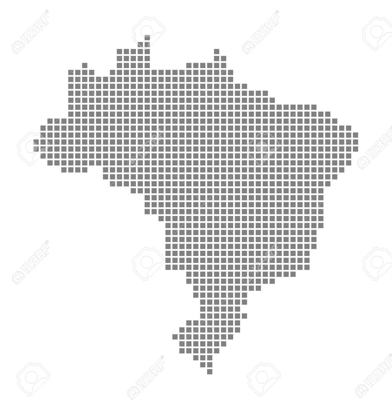 Pixel Map Of Brazil. Vector Dotted Map Of Brazil Isolated On White ...