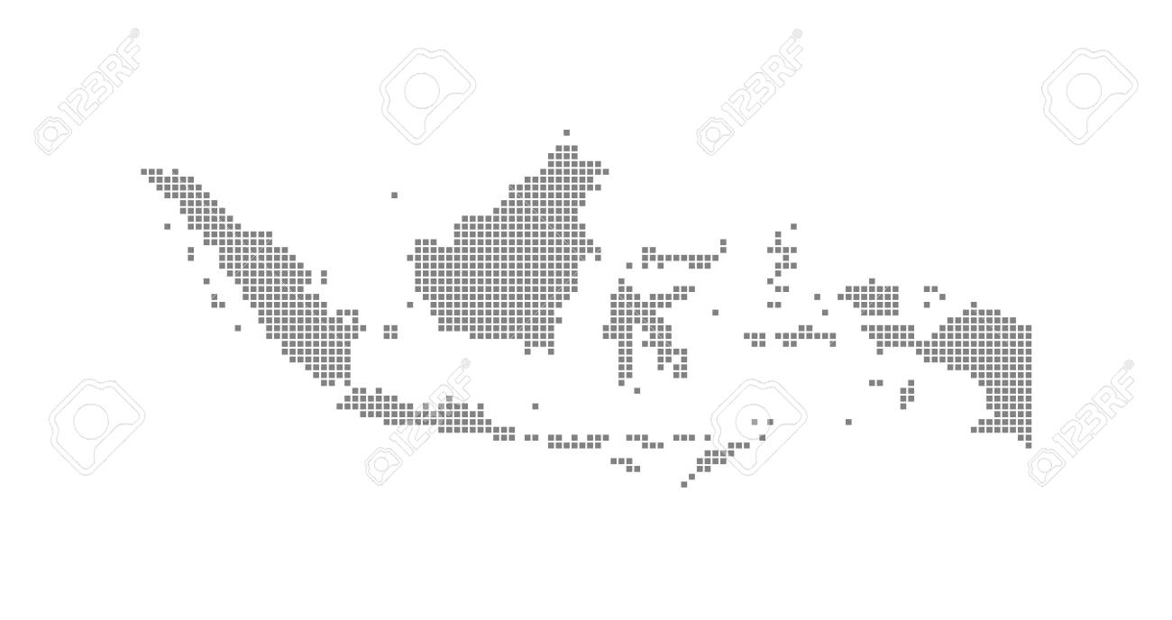 Pixel Map Of Indonesia. Vector Dotted Map Of Indonesia Isolated ...