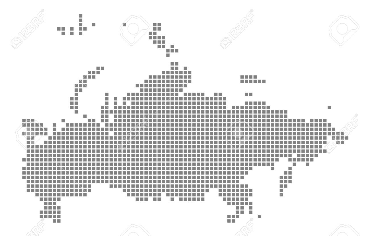 Pixel Map Of Russia. Vector Dotted Map Of Russia Isolated On White ...