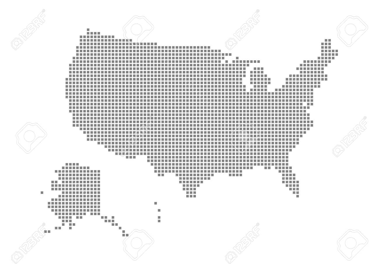 Pixel map of USA. Vector dotted map of USA isolated on white..
