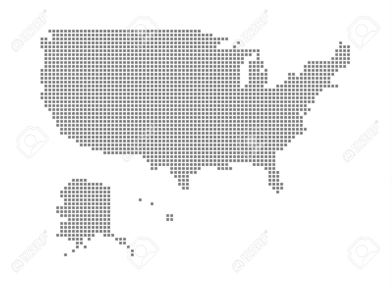 Pixel Map Of United State Of America. Vector Dotted Map Of United ...